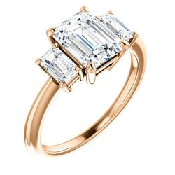 Natural 3.32 CTW Emerald Cut 3-Stone Diamond Engagement Ring 14KT Rose Gold