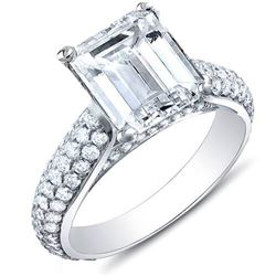 Natural 3.08 CTW Emerald Cut w/ Round Cut Micro Pave Diamond Engagement Ring 18KT White Gold
