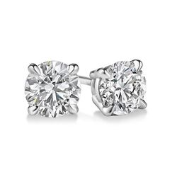 Natural 1.02 CTW Round Brilliant Cut Diamond Stud Earrings 18KT White Gold