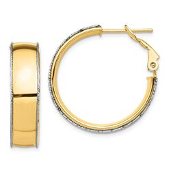 14k Yellow Gold Polished Accent Hoop Earring - 7.5x25 mm
