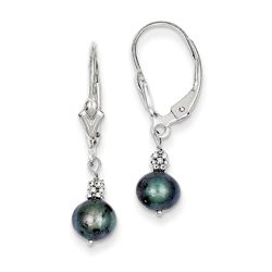 14k White Gold (5-6 mm) Black Cultured Pearl Leverback Earrings