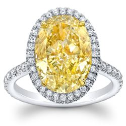 Natural 5.92 CTW Halo Canary yellow Oval Cut Diamond Ring 18KT Two-tone