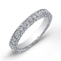 Natural 1.77 CTW Round Cut Pave Diamond Eternity Ring 18KT White Gold