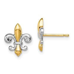 14k Yellow Gold Fleur de Lis Post Earrings - 46 mm