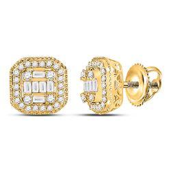 14kt Yellow Gold Womens Baguette Diamond Cluster Fashion Earrings 3/8 Cttw