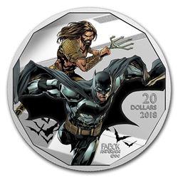 """2018 Canada 1 oz Ag $20 The Justice League""""¢: Batman and Aquaman"""