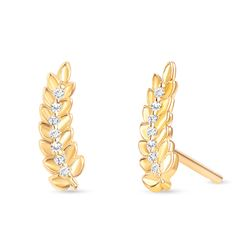 Natural 0.06 CTW Leaf Diamond Earrings 18KT Yellow Gold