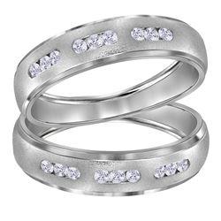 14kt White Gold His Hers Round Diamond Matching Wedding Band Set 1/4 Cttw