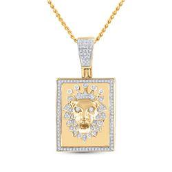 14kt Yellow Gold Mens Round Diamond Lion Crown Rectangle Tag Charm Pendant 1/2 Cttw