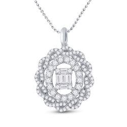 14kt White Gold Womens Baguette Diamond Oval Pendant 1 Cttw