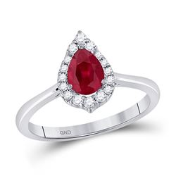 14kt White Gold Womens Pear Ruby Diamond Halo Fashion Ring 3/4 Cttw