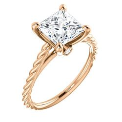 Natural 0.82 CTW Princess cut Rope Style Diamond Engagement Ring 14KT Rose Gold