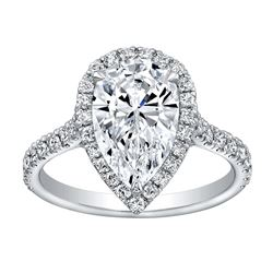 Natural 1.62 CTW Halo Pear Cut Diamond Engagement Ring 14KT White Gold