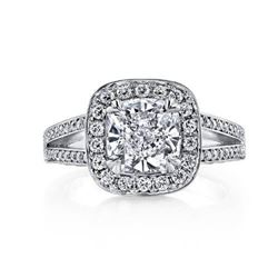 Natural 2.72 CTW Pave Halo Cushion Cut Diamond Engagement Ring 18KT White Gold