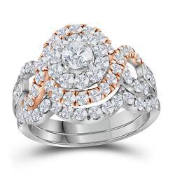 14kt Two-tone Gold Round Diamond Bridal Wedding Ring Band Set 2 Cttw