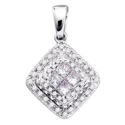 14kt White Gold Womens Princess Diamond Square Frame Cluster Pendant 1/2 Cttw