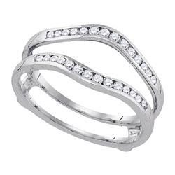 14k White Gold Womens Round Diamond Wedding Bridal Enhancer Band Wrap 1 Cttw