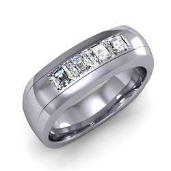 Natural 1.02 CTW Men's Asscher Cut Diamond Ring 14KT White Gold