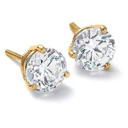 Natural 0.92 CTW Round Brilliant Cut Diamond Stud Earrings, Martini Style 14KT Yellow Gold
