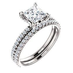 Natural 1.92 CTW Hidden Halo Princess Cut Diamond Engagement Set 14KT White Gold