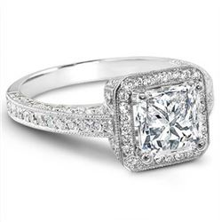 Natural 3.02 CTW Halo Princess Cut Micro Pave Diamond Ring 18KT White Gold