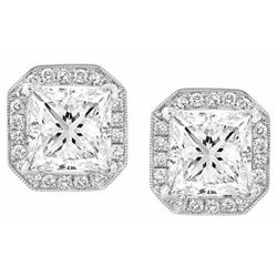 Natural 2.62 CTW Halo Micro Pave Princess Cut Diamond EarringsClarity 18KT White Gold