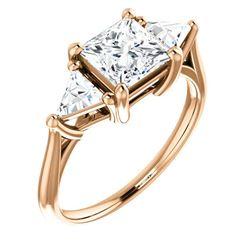 Natural 2.12 CTW Princess & Trillion Cut 3-Stone Diamond Ring 18KT Rose Gold