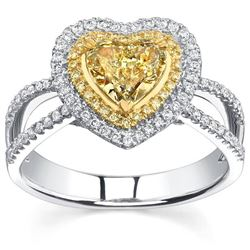 Natural 1.72 CTW Canary Yellow Heart Shape Halo Diamond Ring 14KT White Gold
