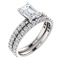 Natural 2.82 CTW Pave Emerald Cut Diamond Engagement Ring 18KT White Gold