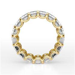 Natural 8.02 CTW Emerald Cut U-Setting Diamond Eternity Ring 18KT Yellow Gold