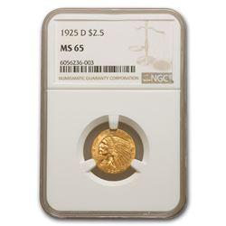 1925-D $2.50 Indian Gold Quarter Eagle MS-65 NGC