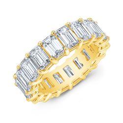 Natural 8.02 CTW Emerald Cut Diamond Eternity Ring 18KT Yellow Gold