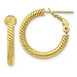 10k Yellow Gold Twisted Round Omega Back Hoop Earrings - 15 mm