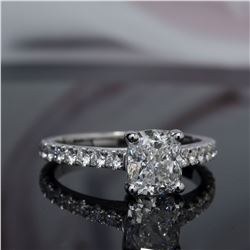 Natural 1.32 CTW Cushion Cut Solitaire Diamond Engagement Ring 18KT White Gold