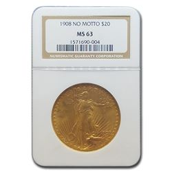 1908 $20 Saint-Gaudens Gold Double Eagle No Motto MS-63 NGC