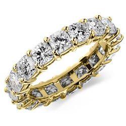 Natural 3.02 CTW Cushion Cut Diamond Eternity Ring 14KT Yellow Gold