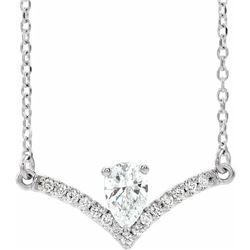 Natural 0.4 CTW Pear Diamond Chandelier Necklace 14KT White Gold
