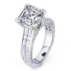 Natural 5.33 CTW Asscher Cut Diamond Engagement Ring 14KT White Gold