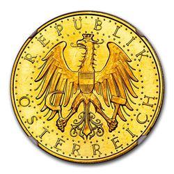 1927 Austria Gold 100 Schilling PL-65 NGC