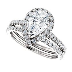 Natural 3.02 CTW Halo Teardrop Pear Cut Diamond Engagement Set 14KT White Gold