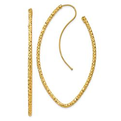 14k Gold Textured Oval French Wire Earrings