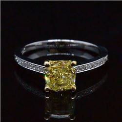 Natural 1.47 CTW Cushion Cut Yellow Diamond Engagement Ring 14KT Two-tone