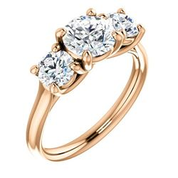 Natural 1.52 CTW 3-Stone Round Cut Diamond Engagement Ring 18KT Rose Gold