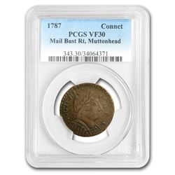 1787 Connecticut Mutton Head Colonial VF-30 PCGS
