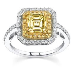 Natural 2.92 CTW Canary Light Yellow Asscher Cut Diamond Engagement Ring 18KT Two-tone