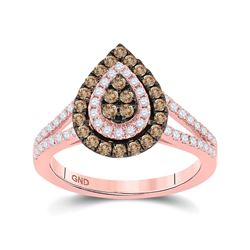 14kt Rose Gold Womens Round Brown Diamond Teardrop Ring 3/4 Cttw