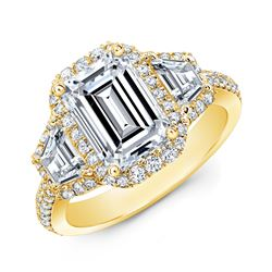 Natural 2.72 CTW Halo Emerald Cut & Trapezoids Diamond Engagement Ring 14KT Yellow Gold