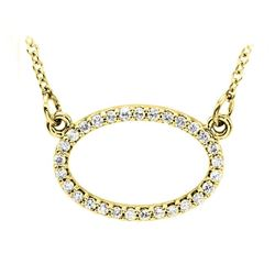 Natural 0.15 CTW Oval Diamond Pendant Necklace 14KT Yellow Gold