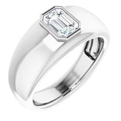 Natural 0.72 CTW Bezel Set Emerald Cut Men's Diamond Ring 18KT White Gold