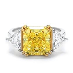 Natural 3.62 CTW Canary Light Yellow Radiant Cut 3-Stone Diamond Ring 18KT Two-tone